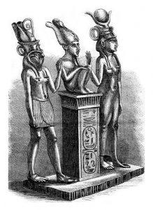 Fig. A. Isis, Osiris et Horus en pleine discussion sur l'origine du monde. Musée du Louvre.