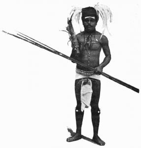 Fig. 1. Fier guerrier Kanak prenant un va-te-laver.
