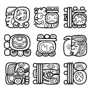 Fig. A. Glyphes Mayas indiquant la position de Mu.