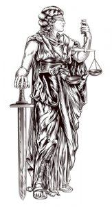 Fig. A. Raide et aveugle est la justice des hommes.